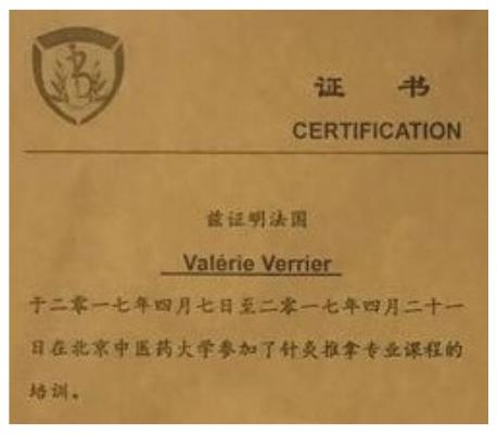valérie verrier diplômée de l'école Shen